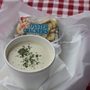 A cup of Anello Family Crab & Seafood's clam chowder